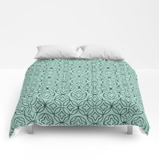 Ancient Pattern Illustration in Blue Comforters
