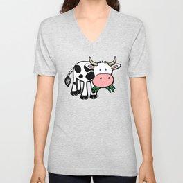 Black and White Steer Munching Grass Unisex V-Neck