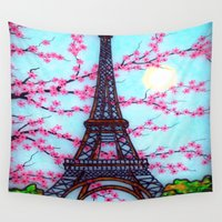 eiffel tower Wall Tapestries featuring Eiffel Tower by ArtLovePassion