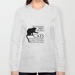 Cats on the Flat Earth Long Sleeve T-shirt