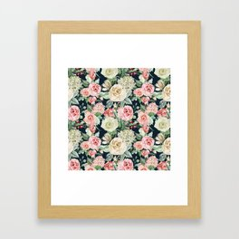 Country chic navy blue pink ivory watercolor floral Framed Art Print