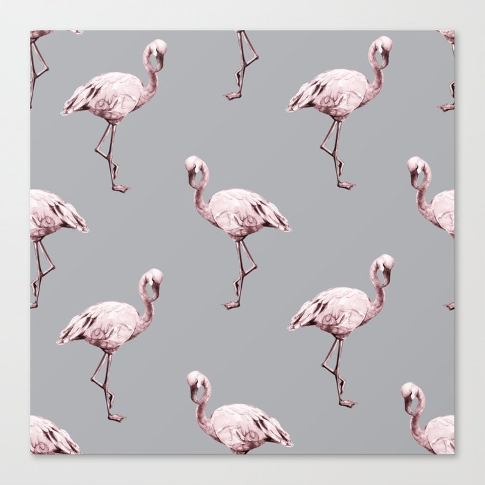 Simply Flamingo on Concrete Gray Canvas Print