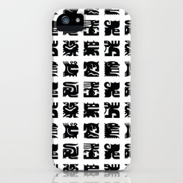 Black and white square monsters iPhone Case