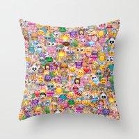 emoji Throw Pillows featuring emoji / emoticons by Marta Olga Klara