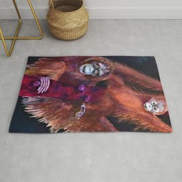 Patient Orangutan Mum and Her Naughty Child Rug