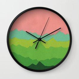 Green Mountains I Wall Clock