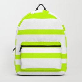 Mixed Horizontal Stripes - White and Fluorescent Yellow Backpack