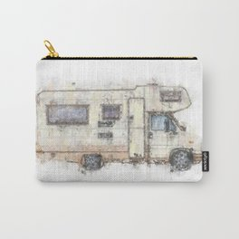 vintage camping bus painting illustration Carry-All Pouch