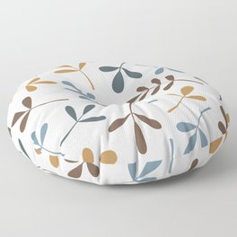 Assorted Leaf Silhouettes Blues Brown Gold Cream Floor Pillow