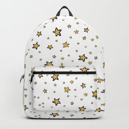 Starry Sky Seamless Vector Pattern, Hand Drawn Illustration Yellow Backpack