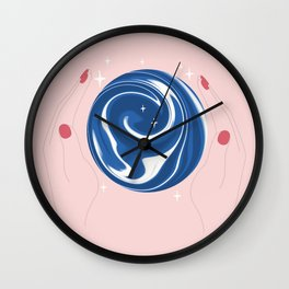 Cute Human hands with crystall ball magic sphere hand drawn fantasy illustration Wall Clock