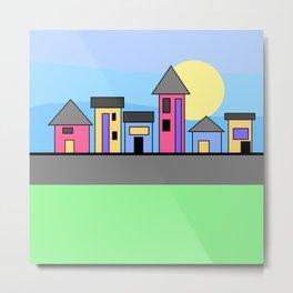 Pastel Daytime Houses Metal Print