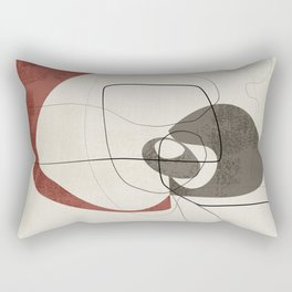 Minimalist Abstract Art Shapes - Scribbles Earth Red 2 Rectangular Pillow