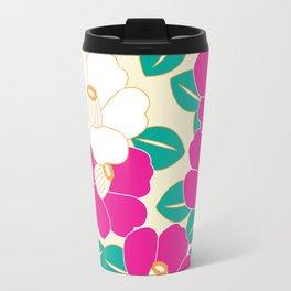 Japanese Style Camellia - Pink and White Travel Mug