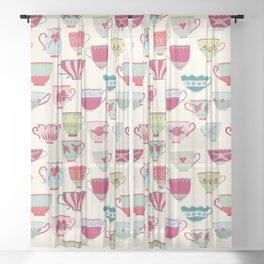 Tea Cups Sheer Curtain