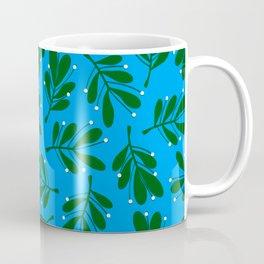 mistletoe on blue Coffee Mug