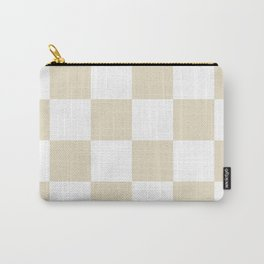 Large Checkered - White and Pearl Brown Carry-All Pouch