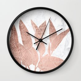 Modern faux Rose gold leaf tropical white marble illustration Wall Clock