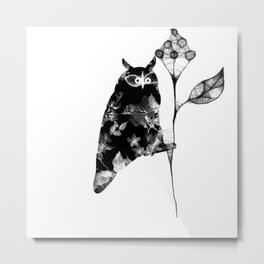 Owl and the flower Metal Print