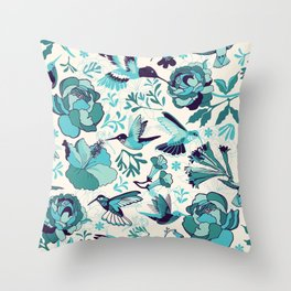 Hummingbird summerdance, Blue Throw Pillow