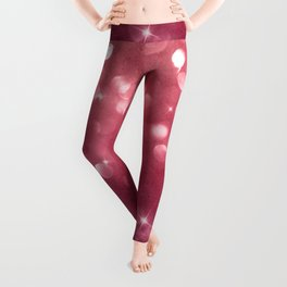 Elegant glam burgundy red bokech glitter gradient  Leggings