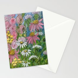 Floral Watercolor Garden Flowers Vibrant Colors Prints For Sale Stationery Cards