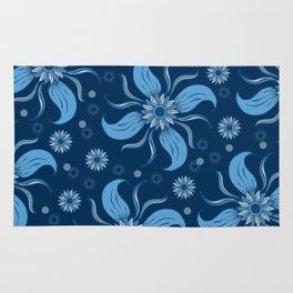 Floral Obscura Dark Blue Rug