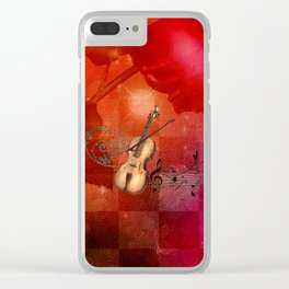 Music, violin with violin bow Clear iPhone Case