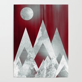 SILVER MOUNTAINS UNDER A BLOOD RED WINTER SKY Poster