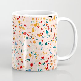 Blush Terrazzo, Eclectic Colorful Abstract Geometrical Shapes Tiles, Pop of Color Graphic Design Coffee Mug