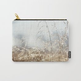 Gold Blue Sparkle Nature Photography, Dew Drop Grass Brown, Morning Water Dewdrops, Magical Bokeh Carry-All Pouch