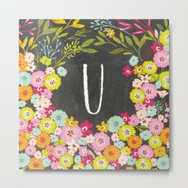 U botanical monogram. Letter initial with colorful flowers on a chalkboard background Metal Print