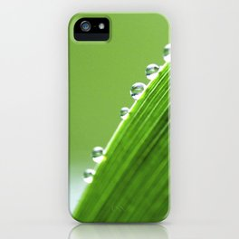 On The Edge Of Green - Water Drops Macro iPhone Case