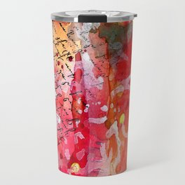 "Bright and Colorful Mixed Media ""How I Tell"" piece with Reds, Oranges, Pinks Purples Travel Mug"
