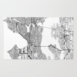 Seattle White Map Rug