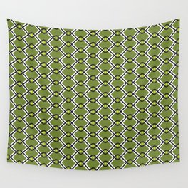 1960's Inspired Green, Yellow, Black and White Pattern Wall Tapestry