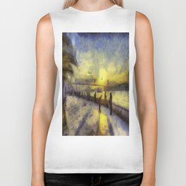 Bosphorus Sunset Van Gogh Biker Tank