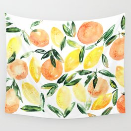 Sicilian orchard: lemons and oranges in watercolor, summer citrus Wall Tapestry