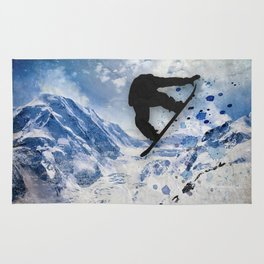 Snowboarder In Flight Rug