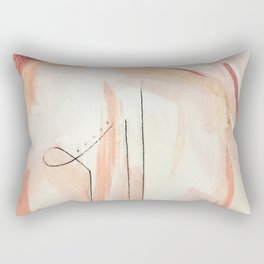 Aly [4]: minimal | pinks | white | black | mixed media | abstract | ink | watercolor | wall art Rectangular Pillow