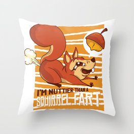 SQUIRREL FART FUNNY ART DESIGN Throw Pillow
