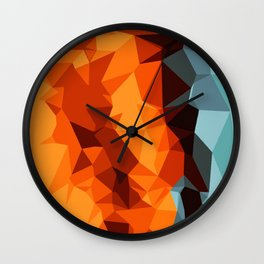 green blue brown orange and yellow abstract background Wall Clock