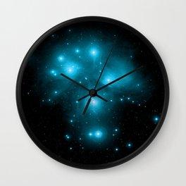 Turquoise Blue Galaxy: Pleiades Constellation Wall Clock
