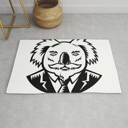 Koala With Moustache Woodcut Black and White Rug