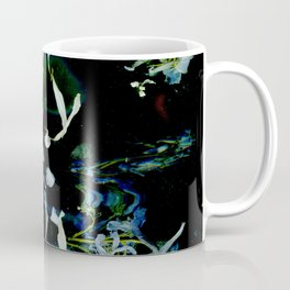 Digital Blue Iris Deconstructed Flower, Black Background, Dart Art, Real Pressed Flowers Coffee Mug