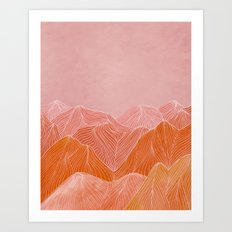 Lines in the mountains - pink II Art Print