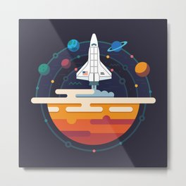 Space Shuttle & Solar System Metal Print