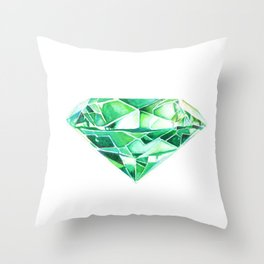 Emerald Watercolor Gem Throw Pillow