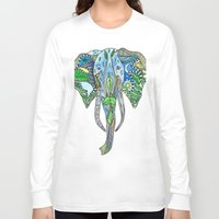 tatoo Long Sleeve T-shirts featuring Tatoo Elephant by PepperDsArt