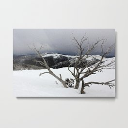 Snowstorm on the Mountain Metal Print